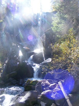 Sunlight streaming down onto Cataract Gulch