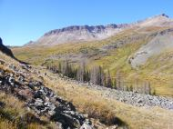Hiking up Cataract Gulch, Half Peak to the right