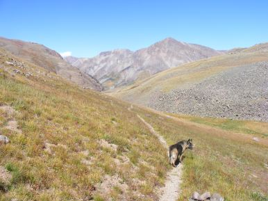 Leah hiking back down Cataract Gulch towards Sunshine Peak