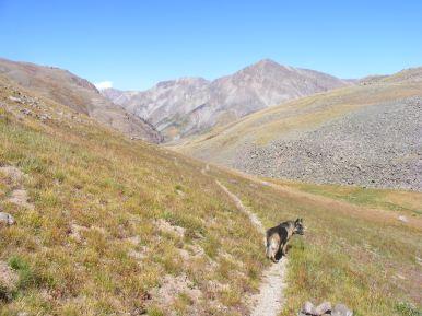 Leah hiking back down Cataract Gulch towards Sunshine Peak