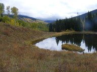 Looking east over the Beaver Ponds; Whetstone Mountain would be visible if not hid by clouds