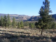 Looking north towards The Gate, a heap of basalt cut by the Lake Fork Gunnison River