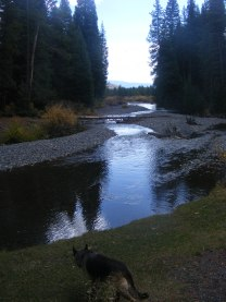 Slate River at low water, passing by the Oh-Be-Joyful Campground