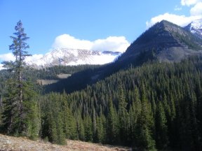 Looking from Peeler Basin to Redwell Basin while hiking on the Daisy Pass Trail No. 404