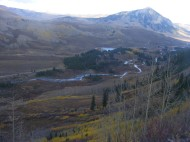 From the Gunsight Pass Road (Gunnison National Forest Road 585) looking at Slate River below the Oh-Be-Joyful Campground; Mount Crested Butte on right