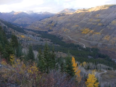 Looking down at Slate River; the spur road leads to Oh-Be-Joyful Campground