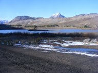 Looking north over Peanut Lake - Left to right: Anthracite Mesa, Gothic Mountain and Snodgrass Mountain