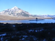 Looking east over Peanut Lake, towards Mount Crested Butte and Cement Mountain in the distance on the right