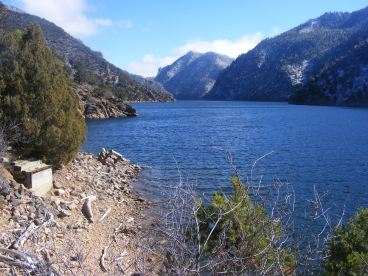 Looking east, upstream, on Morrow Point Reservoir from Hermit's Rest