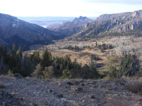 Looking down into West Elk Creek, a remote valley in the West Elk Wilderness