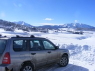 At the end of plowing operations, looking at the town of Mount Crested Butte