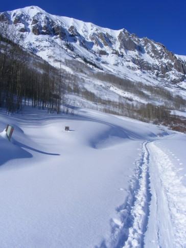 Skiing out towards the base of Gothic Mountain