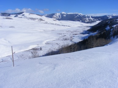 A view of East River east of Mount Crested Butte, Double Top second high peak from left