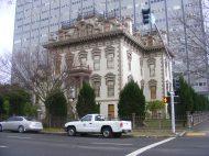 Looking across N Street towards the Leland Stanford Mansion
