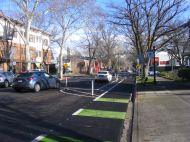 J Street in Sacramento, California - note the interesting parking scheme that makes the bike lane safe from traffic