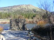 Monument to Sutter's Mill, on the bank of the South Fork American River; Marshall Gold Discovery State Historical Park in Coloma, California
