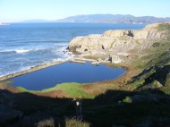 The ruins of the Sutro Baths below Point Lobos, looking across the Golden Gate towards the Marin Headlands