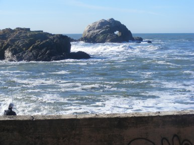 From the ruins of the Sutro Baths, looking at Seal Rocks; note the sea arch