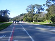 On a fine day, looking along John F. Kennedy Drive in San Francisco's Golden Gate Park