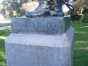 In Golden Gate Park, San Francisco, California, the artist's signature on The Ball Player