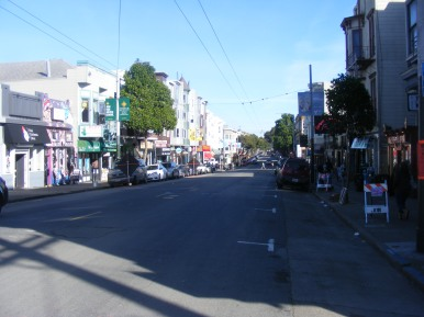 Looking down Haight Street in the Haight -Ashbury District of San Francisco, California