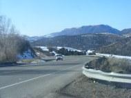 West of Blue Mesa Summit, looking westbound U.S. 50, Cerro Summit in the distance