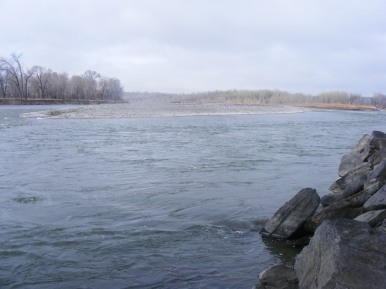 Upstream on the Yellowstone River from Itch-Kep-Pe Park in Columbus, Montana