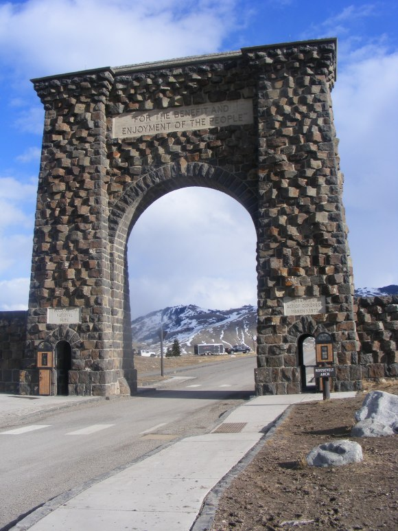 The Roosevelt Arch adjacent to Gardiner, Montana; at the North Entrance to Yellowstone National Park