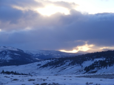 Sunset over Blacktail Deer Plateau in Yellowstone National Park; Bunsen Peak on the left, the south slope of Mount Everts on the right
