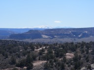 The distant La Sal Mountains, shining with snow