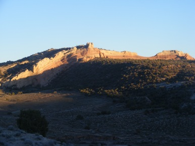 The anticline over Rabbit Valley at sunset