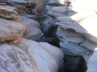 Jagged gap in sandstone where McDonald Creek cut through