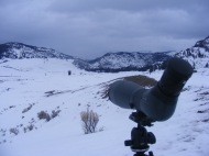 Spotting scope set up on Slough Creek in Yellowstone National Park