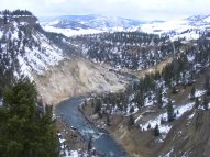 The Yellowstone River just below Tower Creek, in Yellowstone National Park in the State of Wyoming