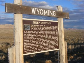 Good geologic interpretive sign for Sheep Mountain, foothills of the Bighorn Mountains, in Wyoming on U.S. 310