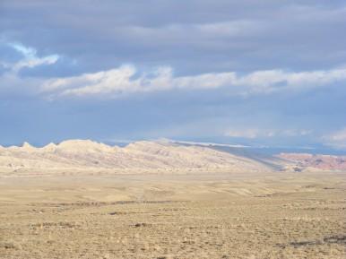 Upturned strata near Sheep Mountain in Wyoming
